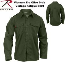OD Green Vintage Vietnam Era Military Poly/Cotton BDU Fatigue Shirt 2568