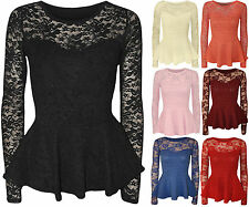 New Womens Peplum Popcorn Lace Sequin Long Sleeve Ladies Bodycon Party Top 8-14