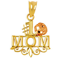Mother's Gifts 14k Yellow Gold Number One Mom Charm Rose Gold Flower #1 Pendant