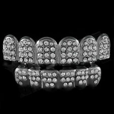 Gunmetal Teeth GRILLZ Top Bottom ICED OUT CZ Tooth Caps Grill HipHop Bling 2MTB