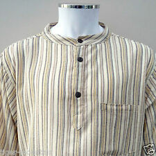 Brand New Hippy Grandad Shirt in Cream Stripes - FREE FIRST CLASS UK P&P!