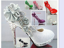 Glitter Gorgeous Wedding Bridal Evening Party Crystal High Heels Women Shos
