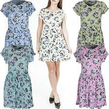 New Womens Ladies Floral print Cap Sleeve Skater Swing Party Dress Size S M L XL