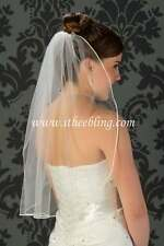 "Elbow Length Bridal Veil 1 Layer 25"" Illusions Bridal Veils  Soutache Edge"