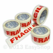 48mm x 66m FRAGILE Carton Parcel Sealing Packing Tape Rolls White Printed Red