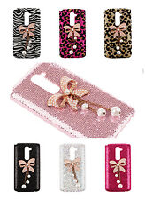 Bling Glitter Cute 3D Faux Pearls Bow Back Case Cover for LG G2