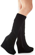 Ladies Wedge Shoes High Heel Wedges Platform Knee Boots Size
