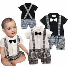 Baby Boy Wedding Christening Tuxedo Suit Bowtie Romper Outfit Cloth0-18M NEWBORN