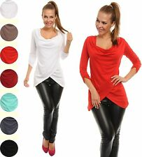 Women's Ladies Buttoned Roll Up Sleeves Cowl Neck Top Jumper Tunic UK 10-12  044
