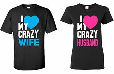 Valentines Day Gifts - I LOVE MY CRAZY WIFE & HUSBAND - Couple T-shirt