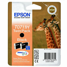 GENUINE EPSON GIRAFFE SERIES BLACK INK CARTRIDGE TWIN PACK T0711H / C13T07114H10