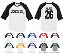 Country of Venezuela Custom Personalized Name & Number Raglan Baseball T-shirt