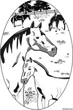 HORSES static cling etched glass window decal REMOVABLE REUSABLE auto mirrors