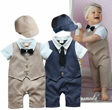 Baby Boy Wedding Tuxedo Formal Suit Romper Bodysuit Outfit Cloth+HAT  3 6 12 18M