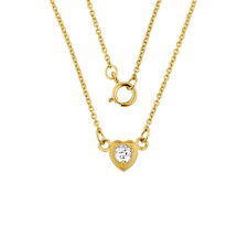 14K Gold 0.20ctw Diamond Dainty Heart Necklace Made in USA