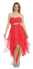 Long and Short Homecoming Chiffon Ruffles High Low Bridesmaids Formal Dress