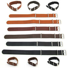Leather NATO WATCH STRAP Band Army Military G10 One Piece 18mm 20mm 22mm 24mm