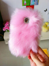 Bling Lovely Charms Baby Pink Fur Gem Phone Case for Samsung Galaxy Note 1/2/3/4