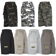 KIDS PLAIN & CAMOUFLAGE MULTIPOCKET SHORTS BOYS ARMY PRINT CARGO COMBAT 3-14 Y