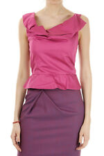 VIVIENNE WESTWOOD Donna Nuovo Top in Cotone Rosa Fuxia Original Made in Italy
