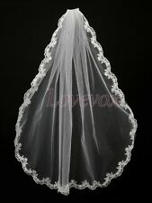 1T White/Ivory Fingertip Length Lace Edge Bridal Wedding Veil With Comb