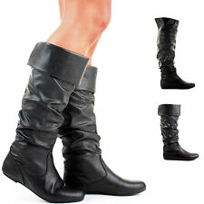 WOMENS FLAT SLOUCH KNEE CALF HIGH BLACK LEATHER STYLE BOOTS LADIES SIZE 3-8