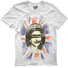 Official Men's White God Save The Queen Sex Pistols T-Shirt by Amplified