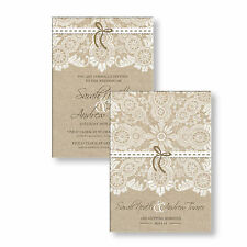 Personalised Wedding Day Evening Invitations Invites Vintage Lace & Canvas