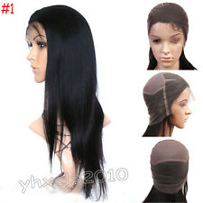 "100% Handmade India Remy Human Hair Full Lace Wig YAKI Straight #1 BlacK 8""-22"""
