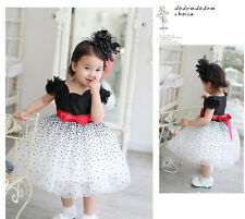 Baby Girls Kids Dresses Princess Bow Dots Starry Party Puffy Tiered Gown Dress