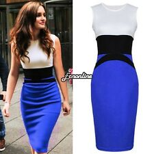 Ladies Ladies  Midi Bodycon Pencil Evening Slim Panel Tea Dress EO56