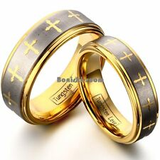 Gold Tone Cross Lasered Tungsten Carbide Wedding Band Couples Engagement Ring