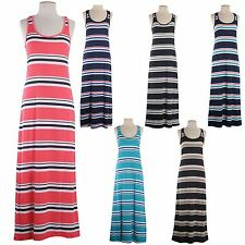 Striped Racerback Sleeveless Maxi Dress Summer Beach Long Sexy Maxi Dress
