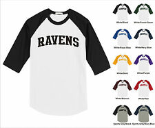 Ravens College Letter Team Name Raglan Baseball Jersey T-shirt