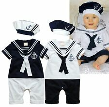 Baby Toddler Boy Girl Sailor Carnival Fancy Party Costume Outfit+HAT Clothes Set