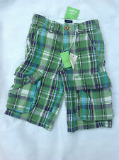 MINI BODEN BOYS COTTON CHECK COMBAT SHORTS GREEN AND BLUE SIZES 1-14Y RRP £24