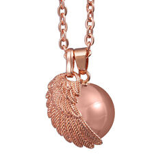 18K Rose Gold Angel Wing Chime Ball Chain Necklace Sounds Pendants Harmony Ball