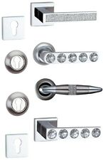 PAIR OF LEVER DOOR HANDLES WITH CRYSTALS PLUS MATCHING ESCUTCHEONS IN 4 STYLES