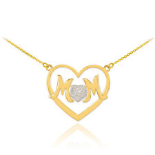 Beautiful Mother's Day Gifts Fine 14K Gold Diamond Pendant Heart MOM Necklaces