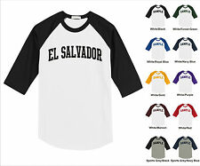 Country of El Salvador College Letter Team Name Raglan Baseball Jersey T-shirt