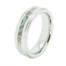 6mm Tungsten Carbide Abalone Shell Inlay Wedding Ring Sizes 4-14