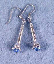 Sonic Screwdriver Silver 3D Blue Crystal Earrings DR WHO Time Lord Choose Color
