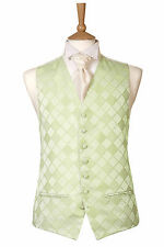 MENS AND PAGE BOYS PALE MINT GREEN CHECK DIAMOND WEDDING DRESS SUIT WAISTCOAT