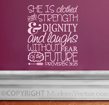 PROVERBS 31:25 Quote Vinyl Wall Decal Inspirational STRENGTH AND DIGNITY