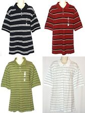 Croft & Barrow NEW Red Navy White Green Striped Polo Shirt Mens Big & Tall $38