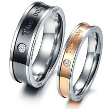 """JZ026 Titanium Steel Ring Wedding Promise Couple Lover """"The only eternal love"""""""