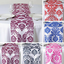 "100 pcs FLOCKING TABLE RUNNERS 12x108"" Wholesale Wedding Party Catering Linens"