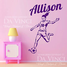 Soccer Player Sports Wall Personalized Custom Girl Name Vinyl Wall Decal Sticker