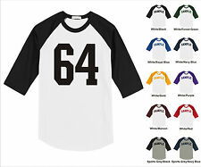 Number #64 Sixty Four Sports Raglan Baseball Jersey T-shirt Front Print