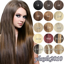 Full Head Clip in on Real Remy Hair Extensions Black Brown Blonde Red NEW
